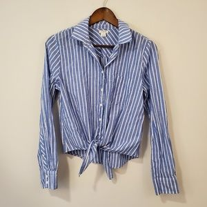 J. CREW  button down blue and white striped shirt